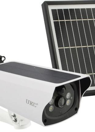Уличная аккумуляторная IP камера видеонаблюдения с солнечной п...