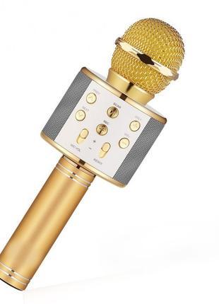 Микрофон-караоке радио FM Wster WS-858 золотой