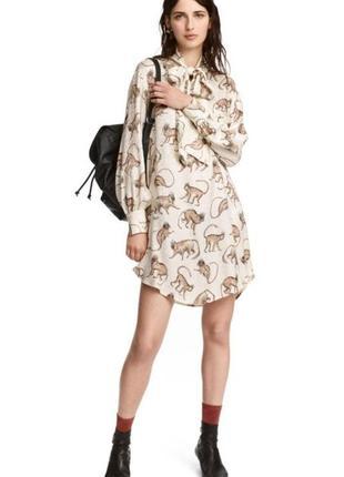 Стильное качественное платье h&m с обезьянками