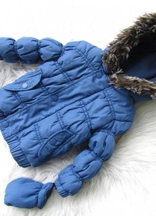 Стильная теплая куртка парка с капюшоном и рукавицами babaluno.