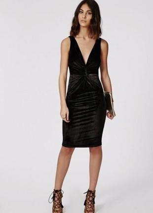 Эффектное бархатное платье l с декольте missguided стрейч велюр