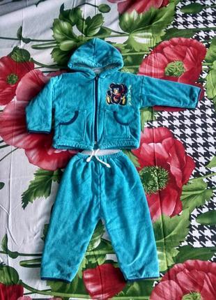 Демисезонный велюровый костюм  для мальчика или девочки 1-2 года.