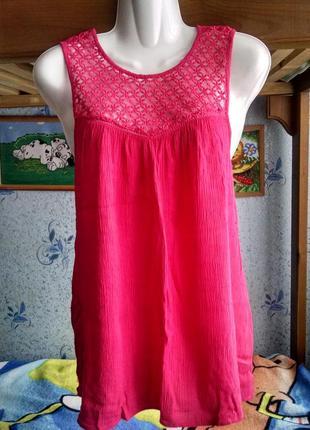 Туника, блуза с кружевным верхом 44- 46 р