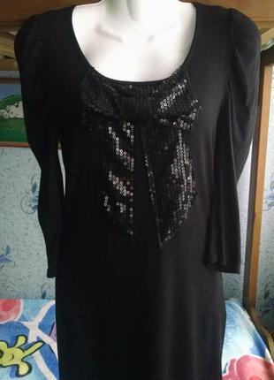 Платье черное с бантом из пайеток 44-46р
