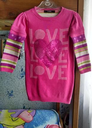Теплое платье-туника  с сердцем из пайеток для девочки 2-3 года