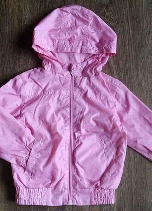 Нежно-розовая в сердечка куртка,ветровка для девочки 2-3 года