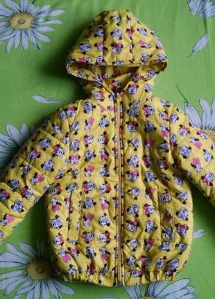 Яркая демисезонная куртка с минни для девочки 3-4 года