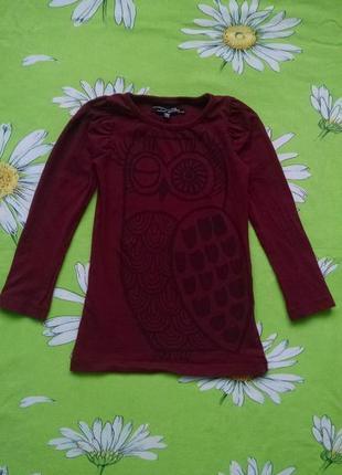 Бордовая туника,платье с совой для девочки 4-5 лет