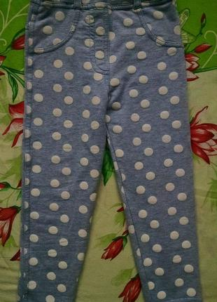Голубые в горох леггинсы для девочки 2-3, 6 года