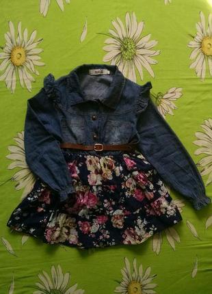 Джинсовое платье,туника для девочки 4-5 лет