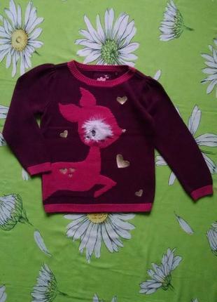 Красивый,теплый свитер с олененком для девочки 4-5 лет