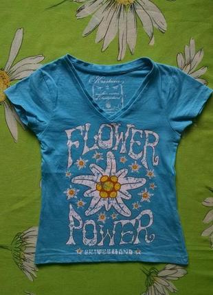 Голубая футболка для девочки 3-4 года