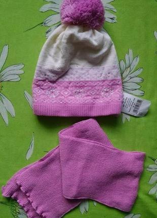 Новый комплект:вязаная шапочка на флисе+шарф для девочки 5-7 л...