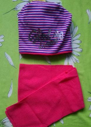 Новый комплект:вязаная шапочка на флисе и шарф для девочки 5-6...