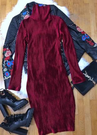 Новое вишневое бархатное платье чулок