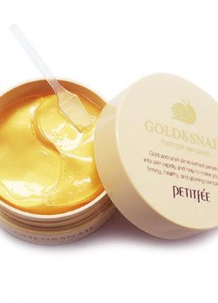 Гидрогелевые патчи для глаз с золотом и улиткой petitfee gold&...