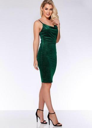 Бархатное блестящее вечернее платье на тонких бретельках quiz ...