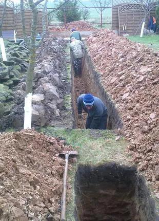 Копка траншей Рабочие бригады землекопов Прокладка кабеля киев