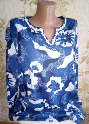Красивая блузка с вышивкой большой размер!