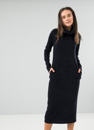 Комфортное и теплое платье season ангора темно-синее