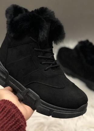 Зимние ботинки на толстой подошве