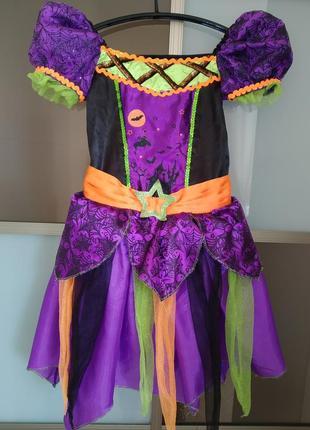 Карнавальное платье ведьмочка на хэллоуин на 5-6 лет