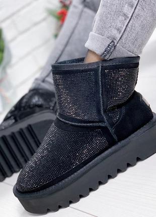 Распродажа ❤ женские черные зимние замшевые угги ботинки сапог...