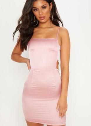 🎈нас 10 тысяч🎈happy sale🎁  розовое сатиновое мини платье с выр...
