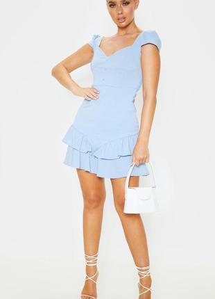Ликвидация товара 🔥   нежное голубое мини платье с  оборками  ...