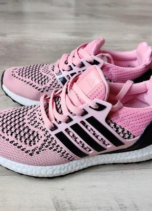 Кроссовки adidas ultraboost розовые с черным