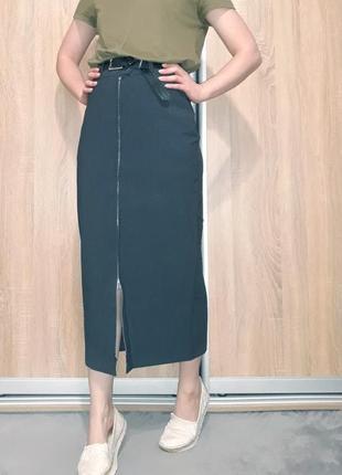 Крутая серая юбка-миди с шерстью на высокой посадке с молнией