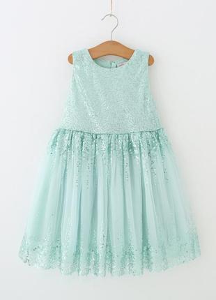 Нарядное мятное платье