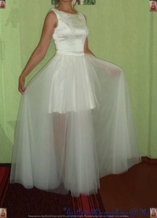 Нереальное шикарное белоснежное свадебное платье ручной работы...