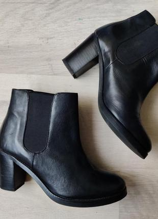 Сапоги asos натуральная кожа черного цвета