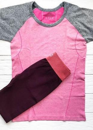 Спортивная футболка майка для спорта фитнеса йоги розовая черн...