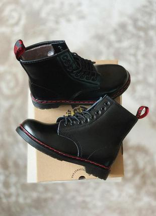 Женские зимние кожаные ботинки/ сапоги dr martens 1460 black r...