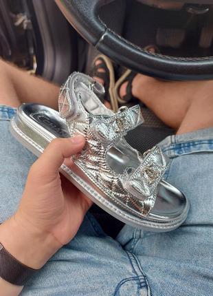 Sandals кожаные сандали обувь на лето женские брендовые серебро