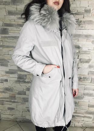 Парка mr & mrs натуральный мех лиса