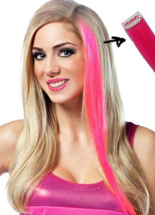 Волосы на заколках ярко розовые, аделиада, маджента— пряди нак...
