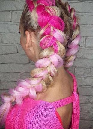 Канекалон коса розовый омбре цветные пряди конекалон каникалон...