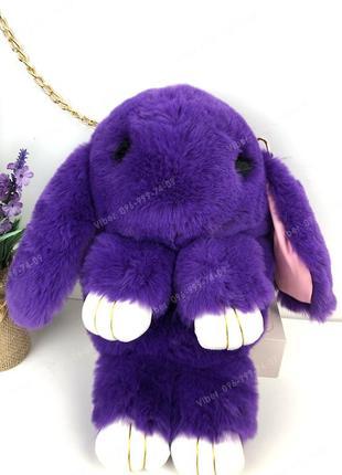 Сумка рюкзак кролик меховой фиолетовый, из искусственного меха...