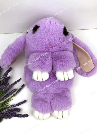 Сумка рюкзак кролик меховой сиреневый, из искусственного меха ...