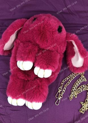 Сумка рюкзак кролик меховой малиновый, из искусственного меха ...