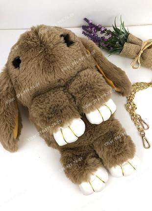 Сумка рюкзак кролик меховой коричневый, из искусственного меха...
