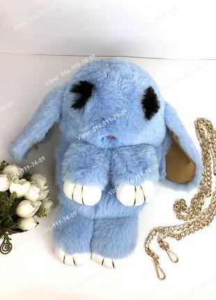 Сумка рюкзак кролик меховой нежно голубой, из искусственного м...