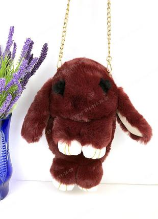 Сумка рюкзак кролик меховой бордовый, из искусственного меха к...