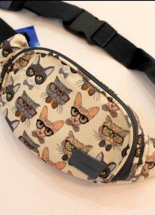 Бананка, барсетка, сумка на пояс, коты, женская сумка