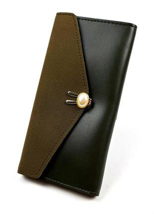 Женский легкий темно-зеленый кошелек на кнопке