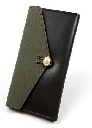Женский вместительный кошелек на кнопке серый