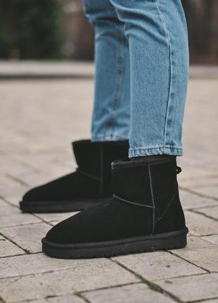 Ugg mini black! замшевые зимние угги/ сапоги/ ботинки/ луноход...